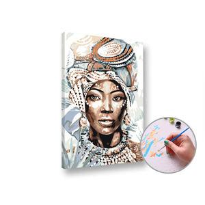 Maľovanie podľa čísel AFRICKÁ ŽENA – stredná náročnosť 60x40 cm (Sada na maľovanie podľa čísel ARTMIE)