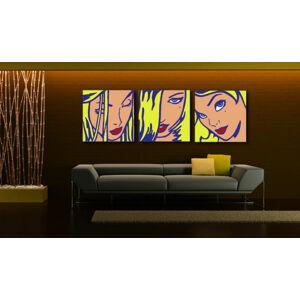 Ručne maľovaný POP Art obraz LICHTENSTEIN 3 dielny  li5 (pop art lichtenstein)