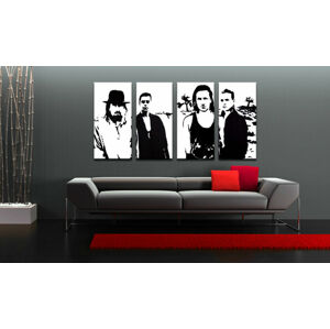 Ručne maľovaný POP Art obraz U2 in Black 4 dielny  U22 (POP ART obrazy)