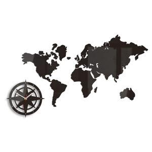 Moderné nástenné hodiny WORLD MAP WENGE HMCNH051-wenge (nalepovacie hodiny na stenu)